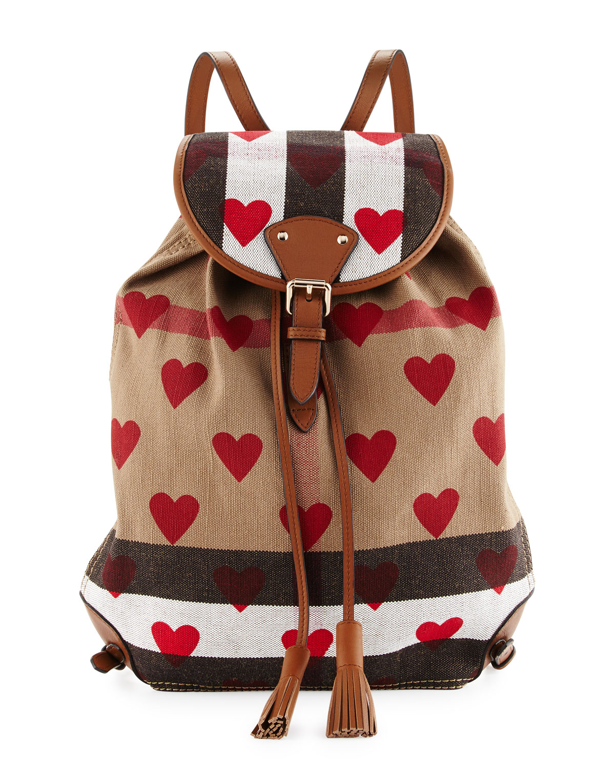 6c8d5eebdb Burberry Chiltern Check Hearts Medium Canvas Backpack