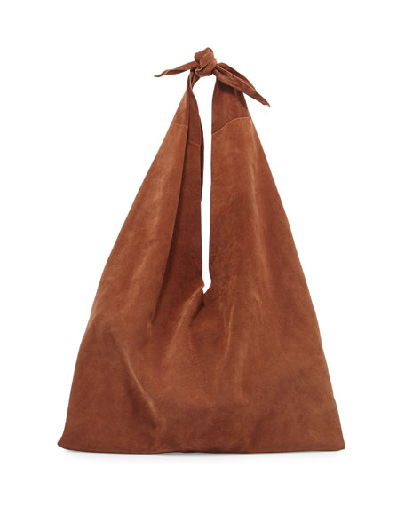 THE ROW Bindle Knot Suede Hobo Bag, Saddle