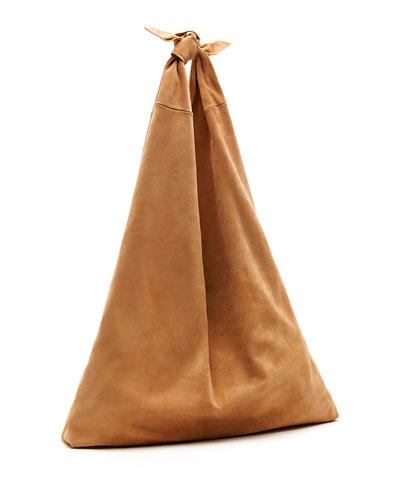 Bindle Knot Suede Hobo Bag, Topaz Blue