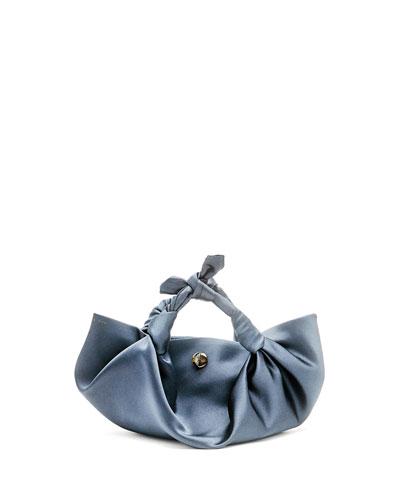 The Ascot Small Satin Hobo Bag, Black