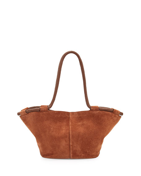 Market Suede Braided Tote Bag, Saddle