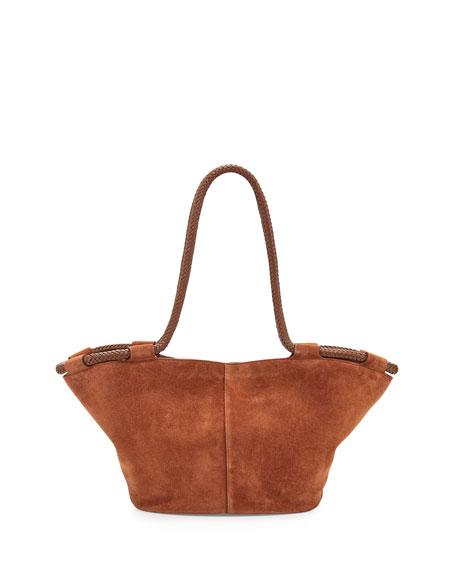 Market Suede Braided Tote Bag, Saddle
