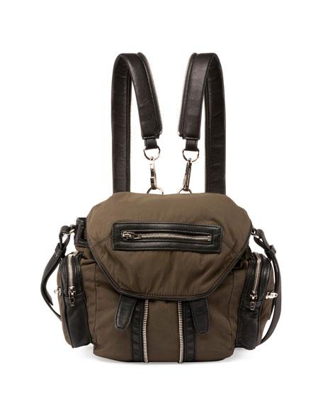 Alexander Wang Mini Marti Nylon Backpack, Military Green/Nickel