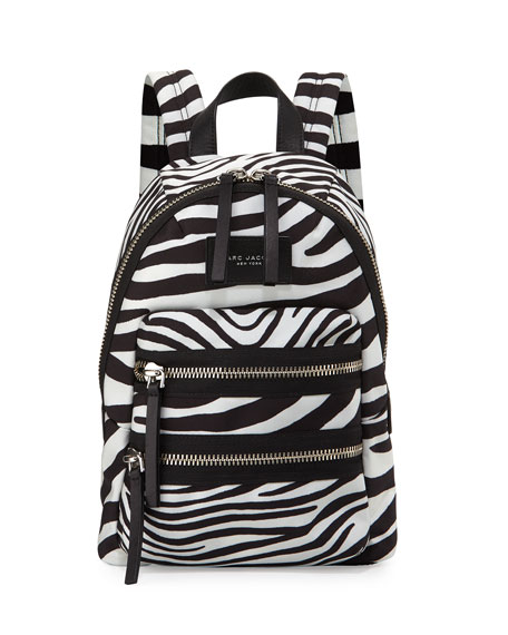 Marc Jacobs Zebra-Print Biker Backpack, Off White/Black