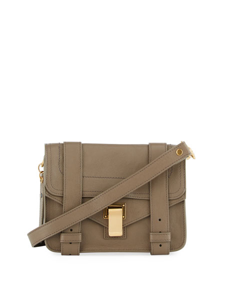 Proenza Schouler PS1 Mini Leather Crossbody Bag, Smoke