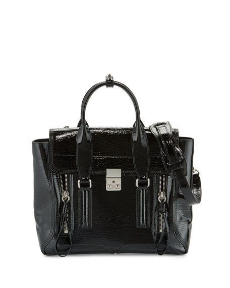 3.1 Phillip Lim Pashli Medium Patent Satchel Bag,