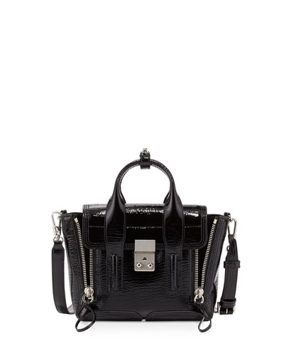 Pashli Patent Mini Satchel Bag, Black