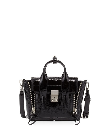 Pashli Mini Patent Satchel Bag, Black