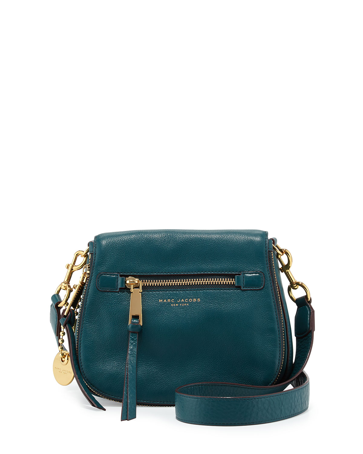 Marc Jacobs Recruit Small Leather Saddle Bag, Teal   Neiman Marcus 2dcacf07b1