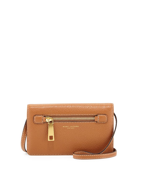Marc Jacobs Gotham City Leather Wallet-On-Strap, Maple Tan