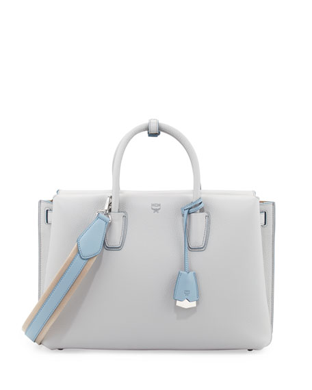 MCMMilla Medium Leather Tote Bag, Whisper Gray
