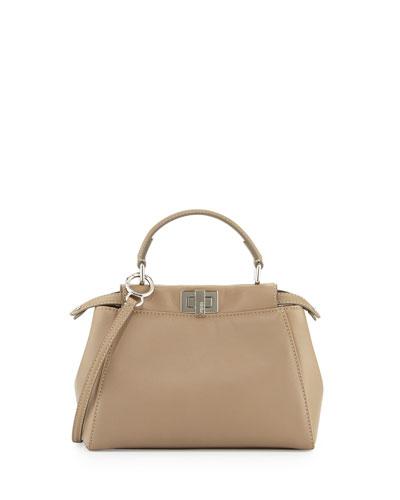 Peekaboo Mini Leather Satchel Bag, Gray