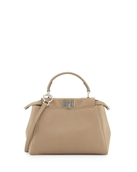 Fendi Peekaboo Mini Leather Satchel Bag, Gray