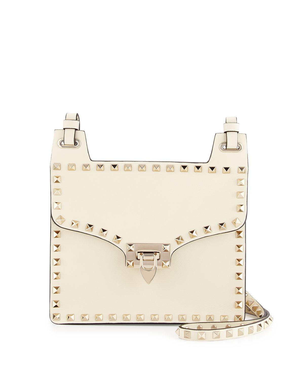 974349b808 Valentino Garavani Rockstud Leather Lock-Flap Square Shoulder Bag, Ivory