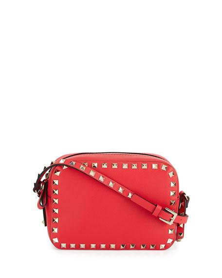 Valentino Rockstud Vitello Leather Camera Crossbody Bag, Bright Red