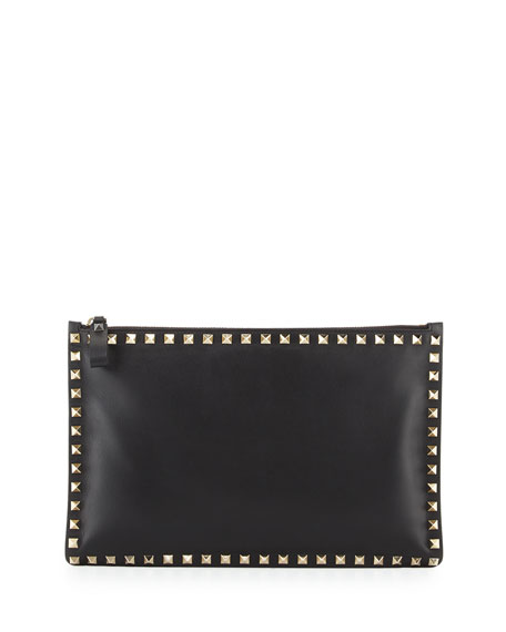 Rockstud Large Flat Vitello Pouch Bag, Black