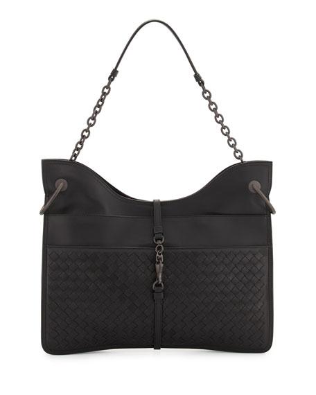 Bottega Veneta Beverly Medium Flat Hobo Bag, Black