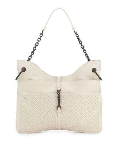 Beverly Medium Flat Hobo Bag, White