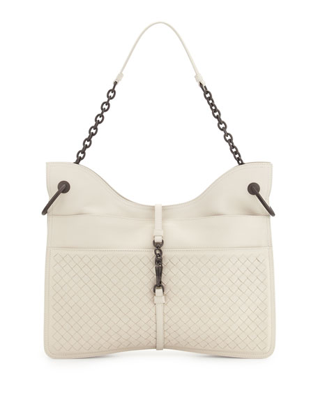 Bottega Veneta Beverly Medium Flat Hobo Bag, White