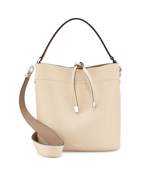 Miranda Medium Leather Shoulder Bag, Vanilla/Dune
