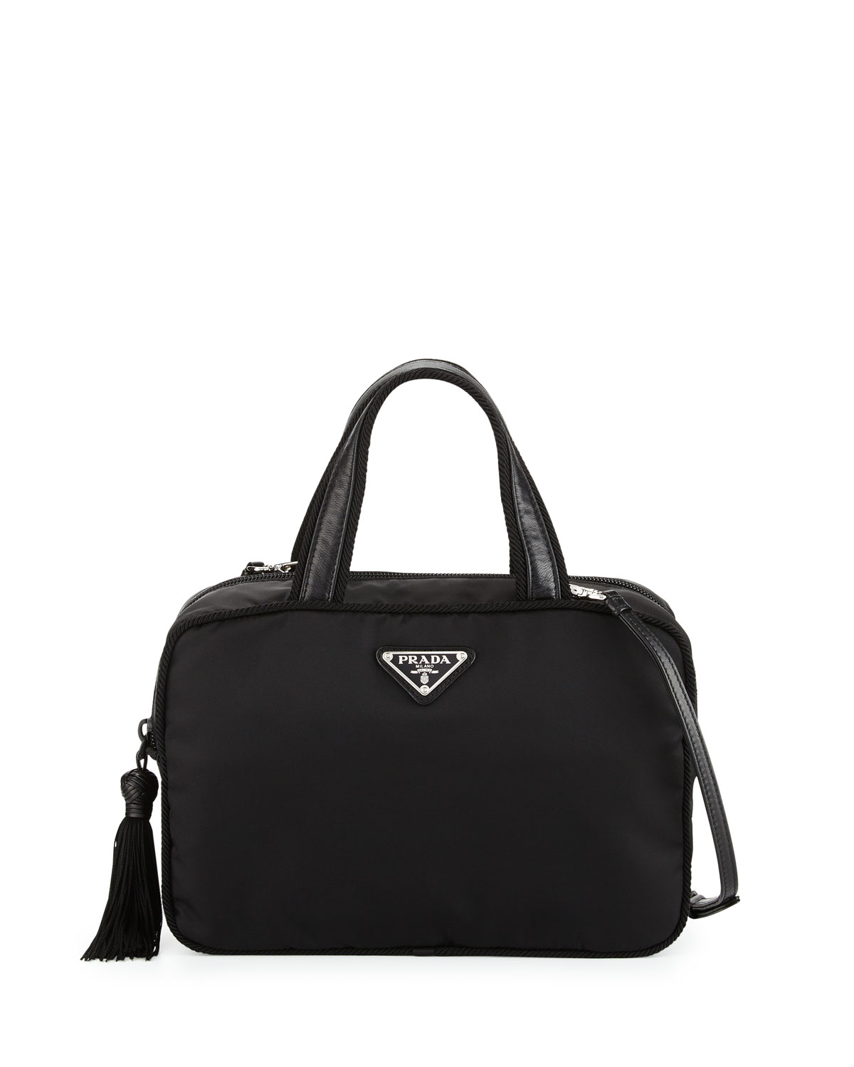 afedf896e7b7 Prada Small Double-Handle Nylon Tote Bag