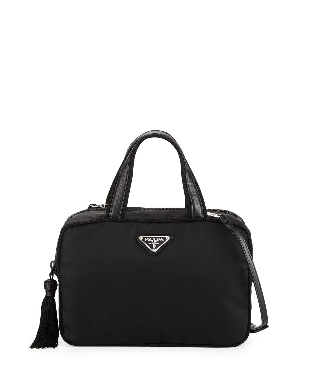 52aa477e5f62 Prada Small Double-Handle Nylon Tote Bag