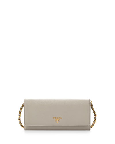 Saffiano Leather Wallet-on-Chain, Light Gray (Pomice)