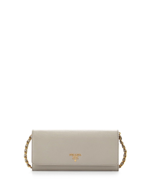 28b37a5c287ec5 Prada Saffiano Leather Wallet-on-Chain, Light Gray (Pomice) | Neiman ...