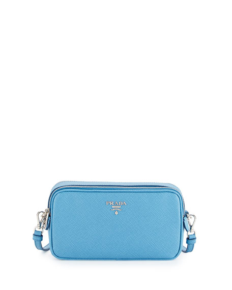 Prada Saffiano Mini Crossbody Bag, Light Blue (Mare)