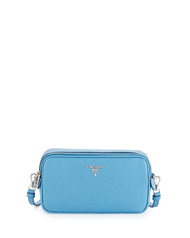 1bf732a7f67e Prada Saffiano Mini Crossbody Bag, Light Blue (Mare) | Neiman Marcus