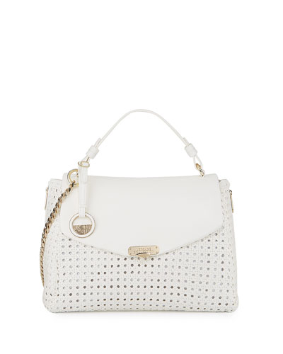Woven Leather Slouchy Tote Bag, White