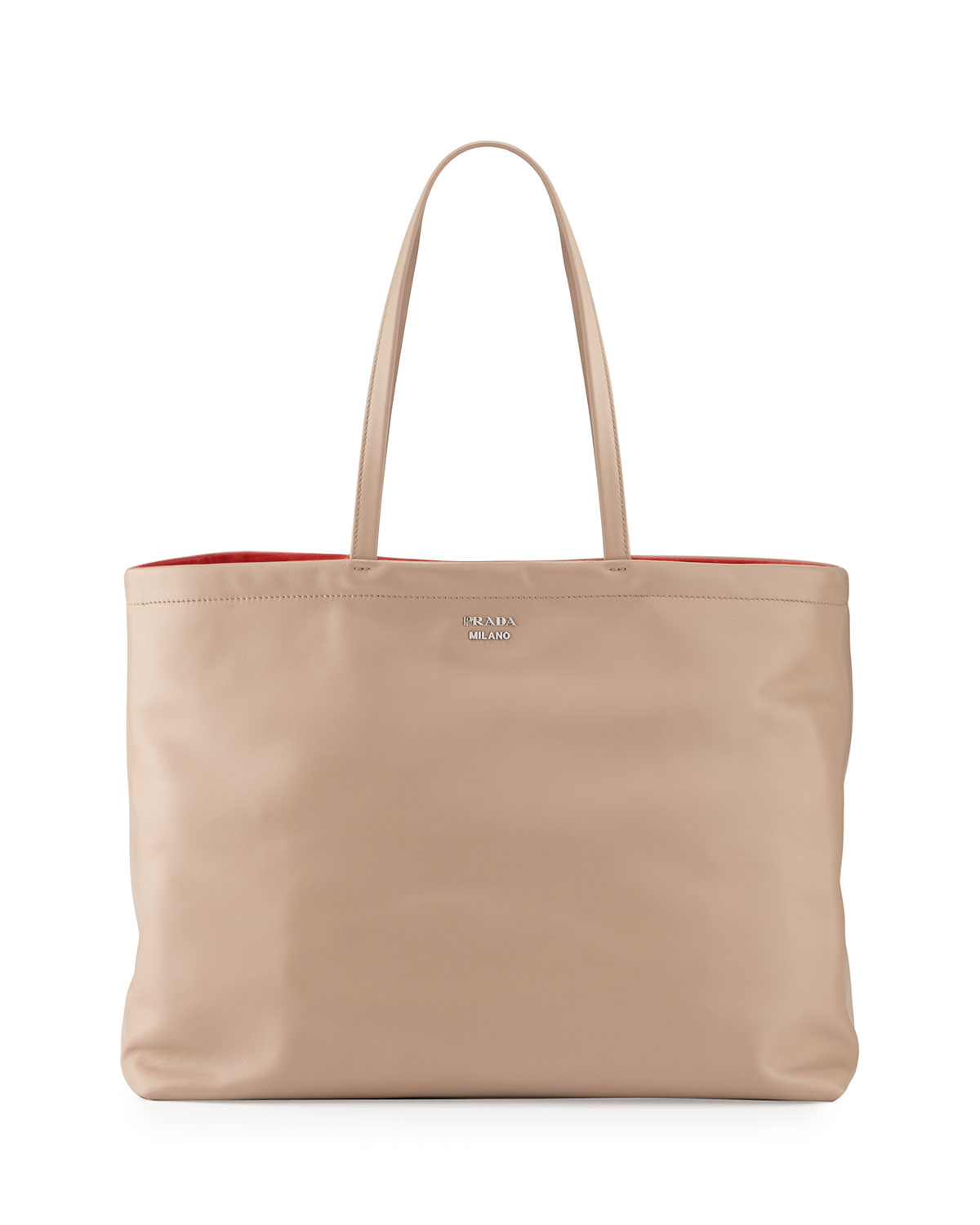 Prada Reversible Soft Calf Tote Bag, Camel Red (Cammello+Rosso ... b2639f579f