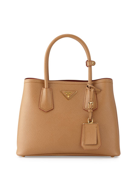 PradaSaffiano Cuir Double Mini Tote Bag, Caramel/Red