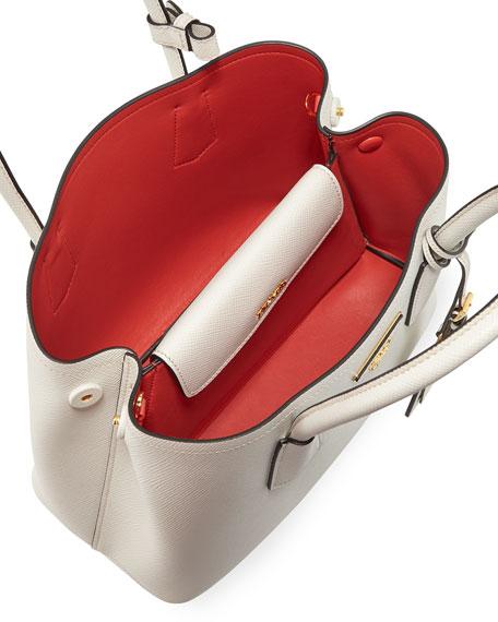 Saffiano Cuir Double Mini Tote Bag, White/Red (Bianco/Rosso)