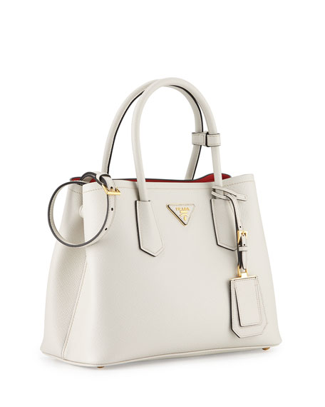Saffiano Cuir Double Mini Tote Bag, White/Red (Bianco/Rosso)