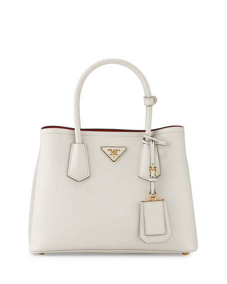 prada handbags black leather - Prada Saffiano Cuir Double Mini Tote Bag, White/Red (Bianco/Rosso)