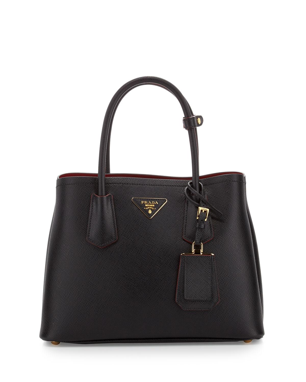 c192945bb6be Prada Saffiano Cuir Double Mini Tote Bag, Black/Red (Nero+Rosso ...