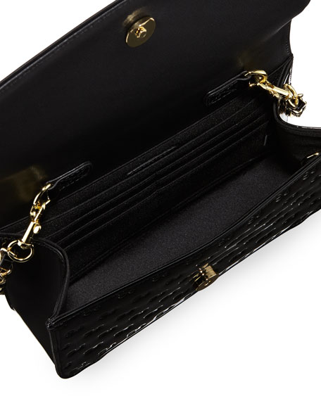 Logo-Embossed Patent Wallet-On-Chain, Black/Gold