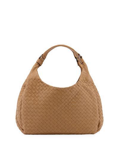 Veneta Medium Intrecciato Ball Hobo Bag, Camel