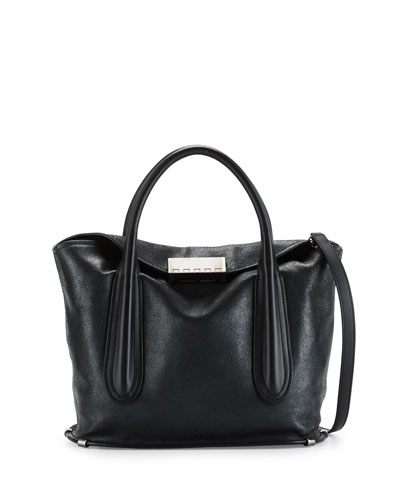 Blythe Fold-Over Leather Satchel Bag, Black