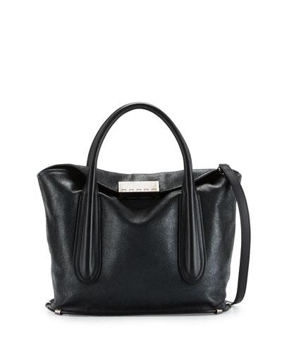 Blythe Fold-Over Leather Satchel Bag, Black