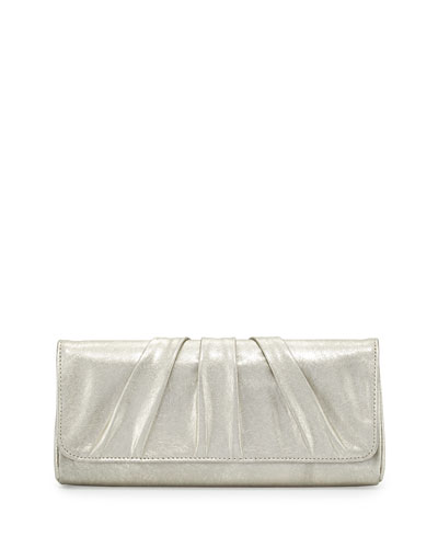 Caroline Leather Evening Clutch Bag, Pale Gold
