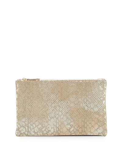 Ellie Snake-Embossed Leather Pouch, Champagne