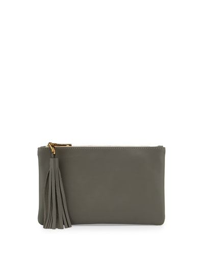 Small Leather Pouch Bag W/Tassel, Charcoal