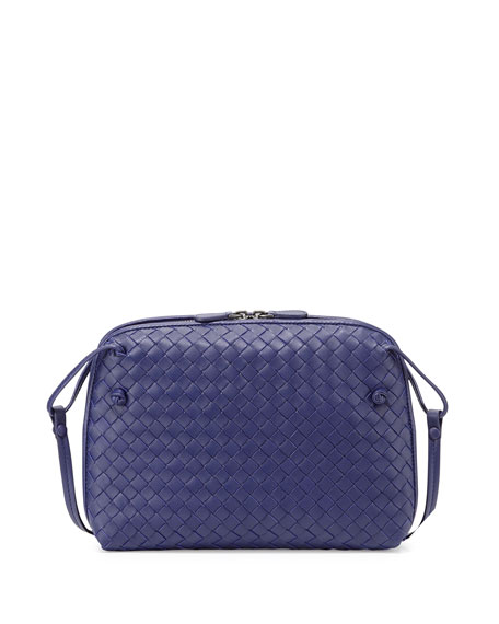 Bottega Veneta Intrecciato Small Zip Crossbody Bag, Cobalt