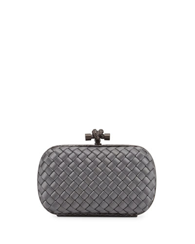 Knot Satin Oval Minaudiere w/Snake Trim, Light Gray