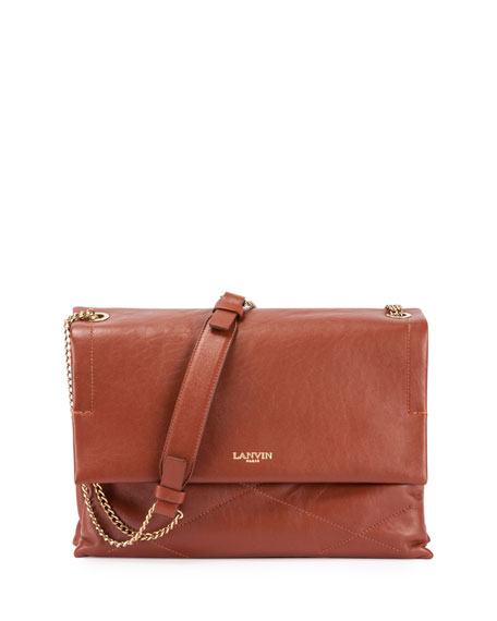 LanvinSugar Medium Chain Shoulder Bag, Cognac