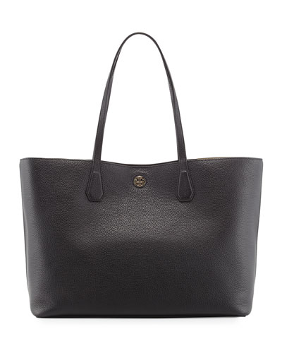 Perry Leather Tote Bag, Beige