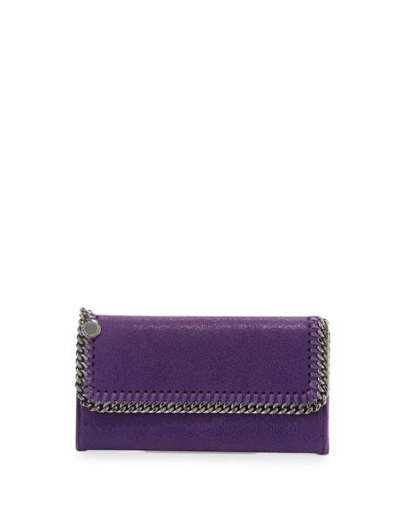 Stella McCartney Falabella Flap-Top Wallet, Purple