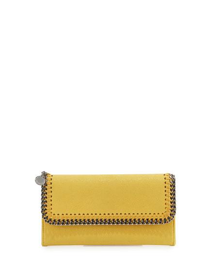 Stella McCartney Falabella Flap-Top Wallet, Yellow